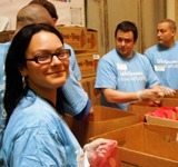 Volunteers sorting in warehouse